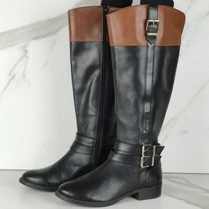 Black INC Riding Knee High Leather Boots 7 Wide